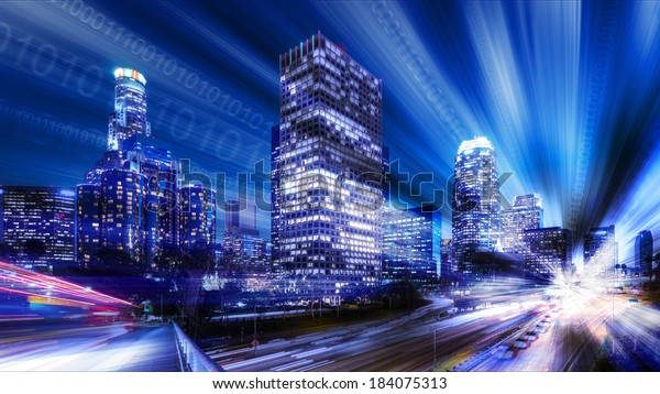 Composite of Los Angeles with binary code