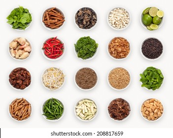 composite with many different varieties of ingredients and spices, Asian and Thai Kitchen