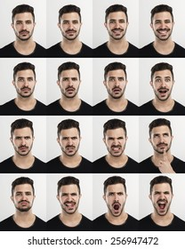 Composite of multiple portraits of the same man in different expressions