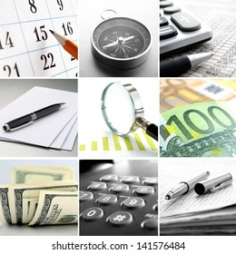 Composite of nine close-up images of office themes showing real office objects like phones and pens and conceptual business objects like a compass and money