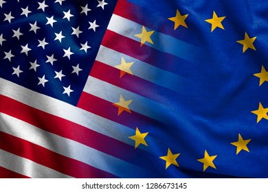Composite overlay of the American and British flags the Stars and Stripes and Union Jack conceptual of global politics and trade