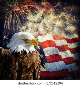 Composite photo of a Bald Eagle with a flag and fireworks in the background. Nice patriotic image for Independence Day, Memorial Day, Veterans Day and Presidents Day.