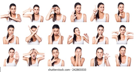 Composite of positive and negative emotions and gestures with gi