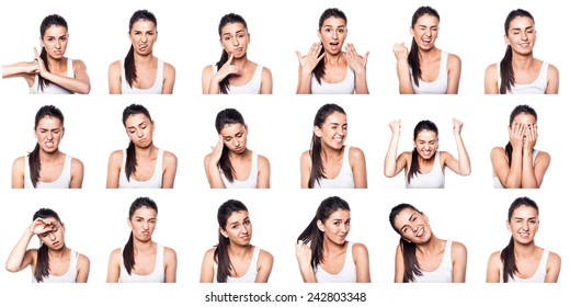 Composite of positive and negative emotions with girl