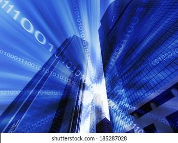 Composite of skyscraper with binary code