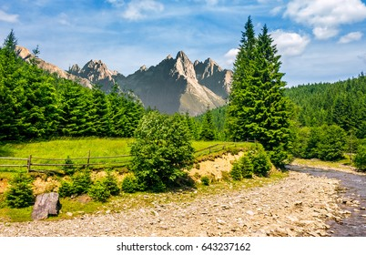 composite summer landscape with trees on a cliff near the shore of a clear river at the foot of epic High Tatry mountain ridge with rocky peaks under blue sky with clouds