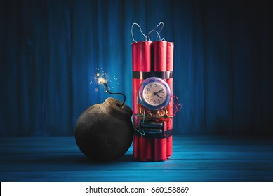 composite of two bombs on a blue background