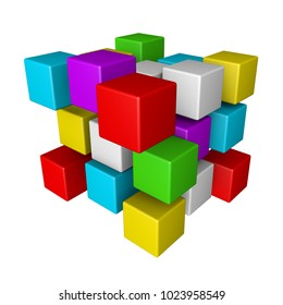 Composition with 3d cubes isolated on white background.