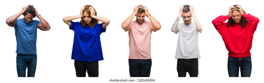 Composition of african american, hispanic and caucasian group of people over isolated white background suffering from headache desperate and stressed because pain and migraine. Hands on head.