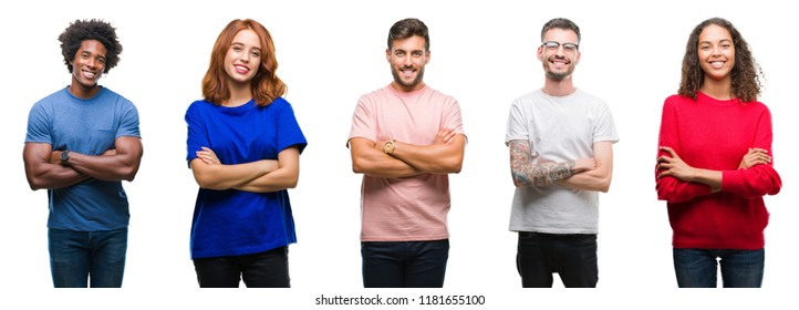 Composition of african american, hispanic and caucasian group of people over isolated white background happy face smiling with crossed arms looking at the camera. Positive person.