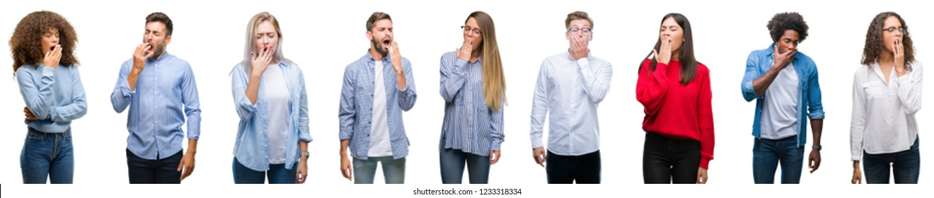 Composition of african american, hispanic and caucasian group of people over isolated white background bored yawning tired covering mouth with hand. Restless and sleepiness.