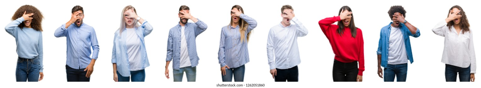 Composition of african american, hispanic and caucasian group of people over isolated white background peeking in shock covering face and eyes with hand, looking through fingers embarrassed