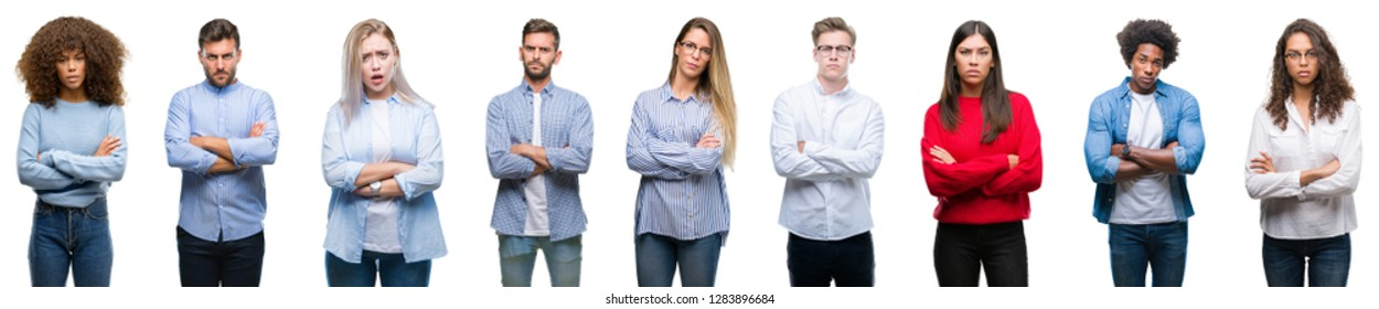 Composition of african american, hispanic and caucasian group of people over isolated white background skeptic and nervous, disapproving expression on face with crossed arms. Negative person.