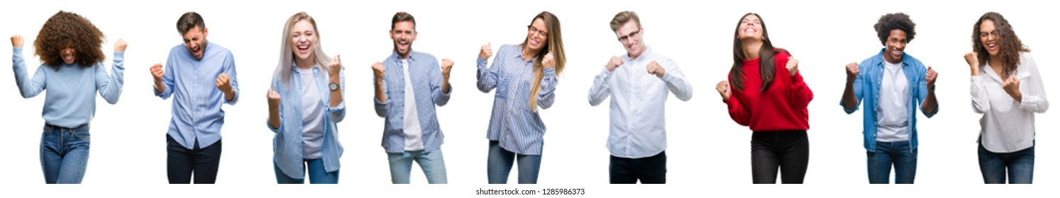 Composition of african american, hispanic and caucasian group of people over isolated white background very happy and excited doing winner gesture with arms raised, smiling and screaming for success