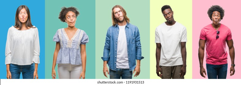 Composition of african american, hispanic and chinese group of people over vintage color background making fish face with lips, crazy and comical gesture. Funny expression.