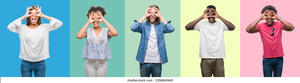 Composition of african american, hispanic and chinese group of people over vintage color background doing ok gesture like binoculars sticking tongue out, eyes looking through fingers. Crazy expression