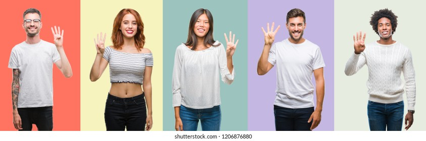 Composition of african american, hispanic and chinese group of people over vintage color background showing and pointing up with fingers number four while smiling confident and happy.