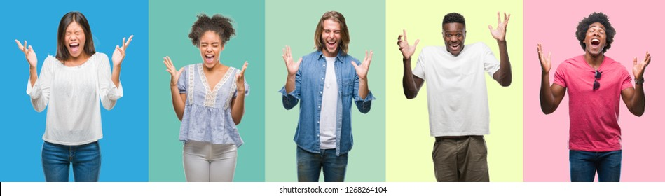 Composition of african american, hispanic and chinese group of people over vintage color background celebrating mad and crazy for success with arms raised and closed eyes screaming excited. Winner