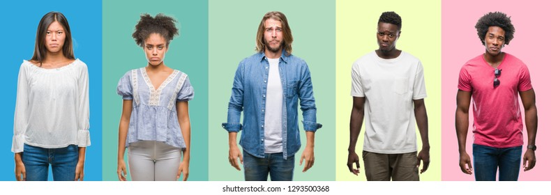 Composition of african american, hispanic and chinese group of people over vintage color background depressed and worry for distress, crying angry and afraid. Sad expression.