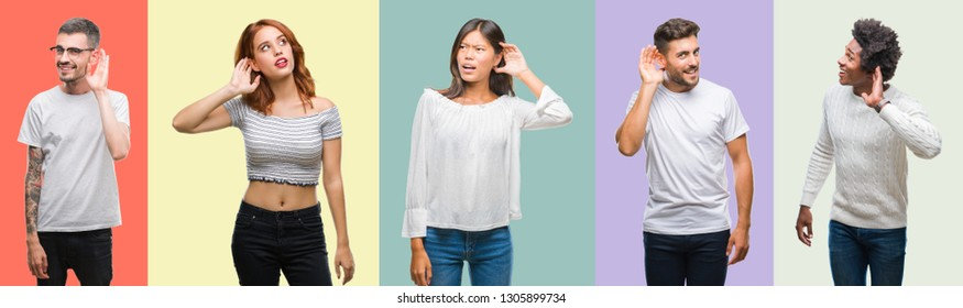 Composition of african american, hispanic and chinese group of people over vintage color background smiling with hand over ear listening an hearing to rumor or gossip. Deafness concept.
