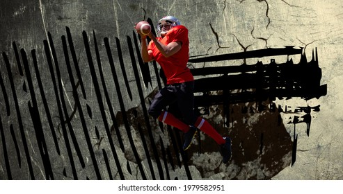 Composition of american football player with ball over squiggles and cracked surface. sports event and competition concept digitally generated image.