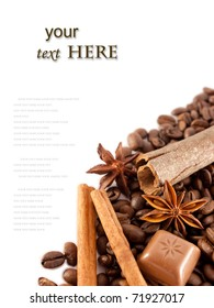 Composition of anise, cinnamon, choco, coffee and free space for text