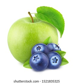 Composition with apple and blueberry isolated on a white background.