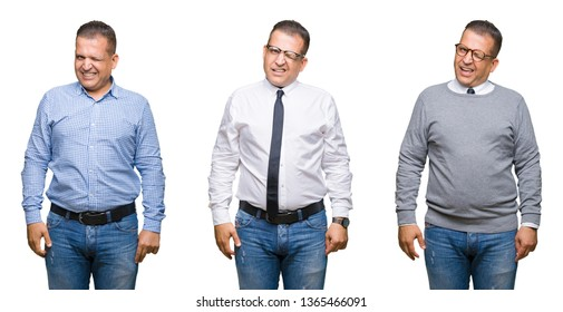Composition of arab middle age man over isolated background winking looking at the camera with sexy expression, cheerful and happy face.