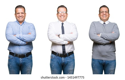Composition of arab middle age man over isolated background happy face smiling with crossed arms looking at the camera. Positive person.