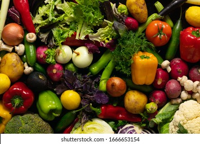 Composition with assorted raw fresh mix vegetables. Variety vegetable top view background.