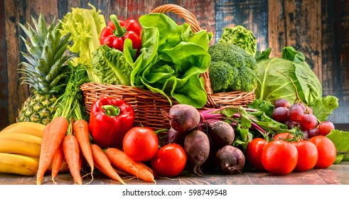Composition with assorted raw organic vegetables. Detox diet - Shutterstock ID 598749548