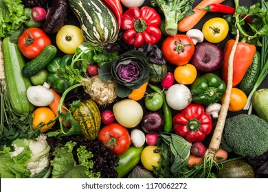 Composition with assorted raw vegetables, healthy food background. Concept of healthy food, fresh vegetables.Top view, copy space