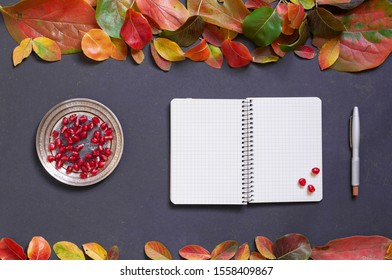 composition for the background from autumn leaves and a notebook with a cup of tea,pomegranate fruit and grape