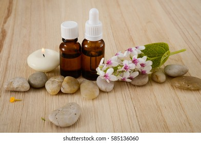 Composition of bath spa treatment on wooden board background