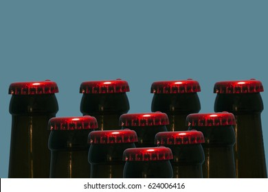 composition of beer bottles with red caps