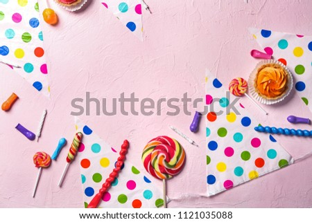 Composition Birthday Party Items Candies Cupcake Stock Photo Edit