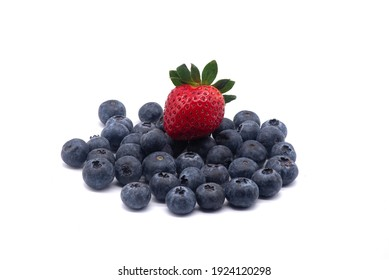 Composition of blueberries and strawberry on a white background