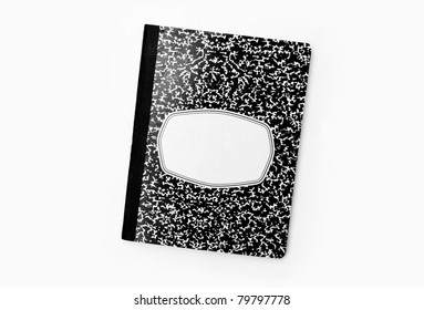 Composition book notebook isolated on white background