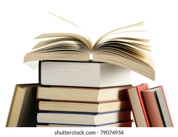 Composition with books isolated on white