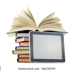 Composition with books and tablet computer isolated on white background