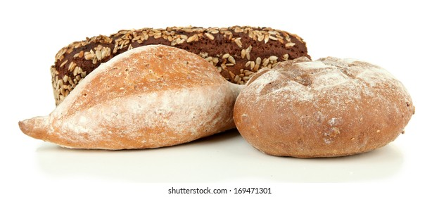 Composition with bread, isolated on white