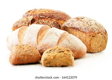 Composition with bread and rolls. Baking products.