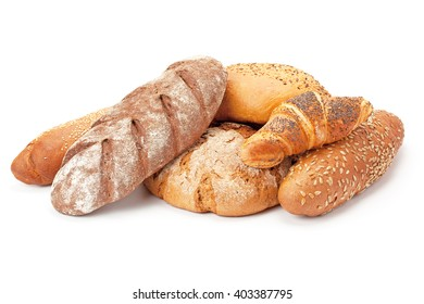 Composition with bread and rolls isolated on white.