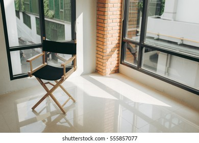 Composition of the chair with sun light through from windows of the room