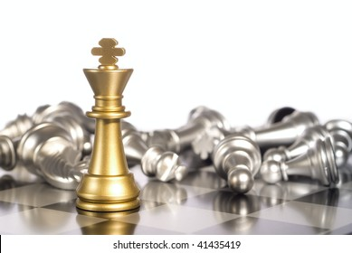 Composition from chessmen on a light background