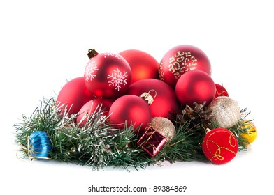 composition of the christmas balls isolated on a white background