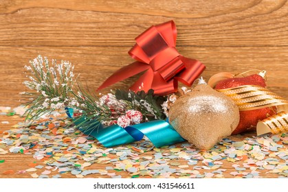 Composition of the christmas decorations. It arrangement on the wooden background.