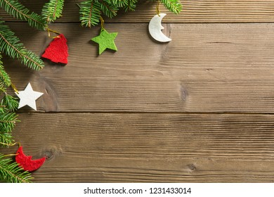 Composition of Christmas decorations, with fir branches, ideal as a background