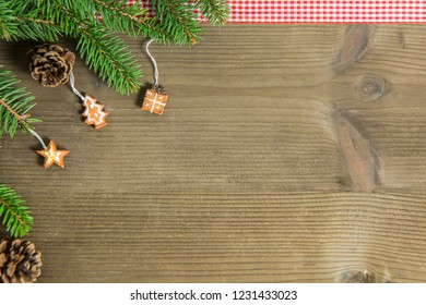 Composition of Christmas decorations, with fir branches and cloth, ideal as a background