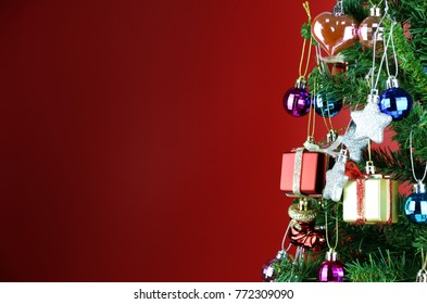 composition Christmas tree on Red background copy space for your text
